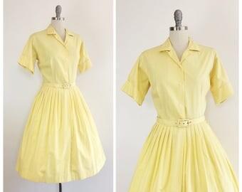50s Yellow Shirtwaist Cotton Day Dress / 1950s Vintage Button Up Dress / Large / Size 10
