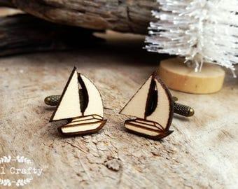 Yacht Wooden Cufflinks Sail Boat Dad Grooms Best man Groomsman Rustic Wedding Birthday Gift Cuff links