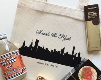 Set of 12 New York City Skyline Wedding Favors, Custom Screen Printed Canvas Tote Bags For Wedding Guests New York, NY