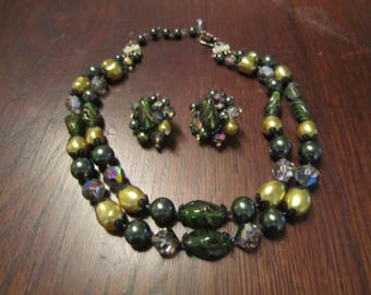 Coro/Vendome 2 Strand Necklace and Earrings