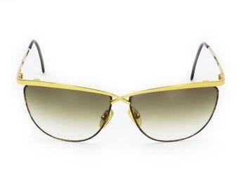 Laura Biagiotti Vintage 1980s Oversized Statement Sunglasses Gold-Tone Metal Rust Tortoise Enamel Bold Geometric Designer 80s Shades Italy