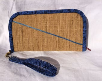 Zipper Wallet - Tan with Thin Blue Line