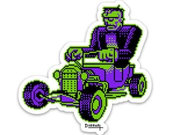 Frankenstein Sticker hotrod Monster Horror Halloween retro 80s 90s pixel art sneakerhead 8 bit