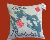 """Lake Muskoka """" You are Here"""" Pillowcase"""
