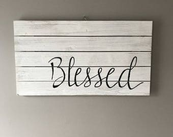 """Wooden Sign - """"Blessed"""""""