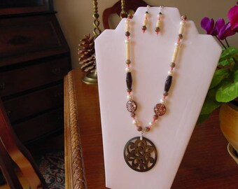 Wood, Bone, Pink Coral and Pearl Necklace with Ornate Carved Wood Focal and Earring Set