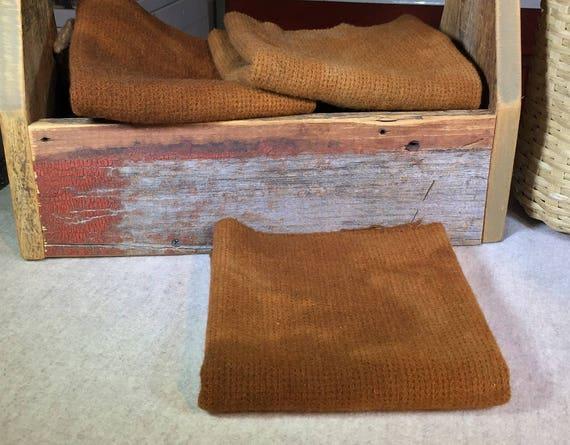 Dark Pumpkin Seed, Hand  Dyed Wool Fabric for Rug Hooking, Applique, Penny Rugs, Fiber Arts, Fat Quarter Yard  W300