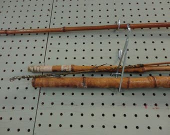 BAMBOO CANE FLY Fishing Pole - Vintage Cane Bamboo 3 section Fishing Pole - Challenger