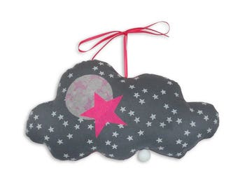 Musical Mobile cloud Arsène gray - Neon pink - music box - a star in my cabin