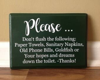Bathroom Signs Do Not Flush septic system rules wooden sign set of 3 do not flush sign