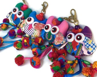 Owl Pom Pom Zipper Pull / Key Chain Fair Trade - Thailand