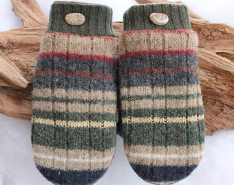 Women's wool sweater mittens lined with fleece with Lake Superior rock buttons in green, brown, red, orange, yellow, and blue, Christmas