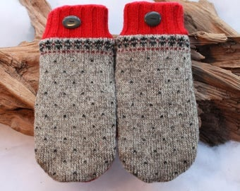 Wool sweater mittens lined with fleece with Lake Superior rock buttons in red, gray, and black, Valentines, winter birthday, coworker gift