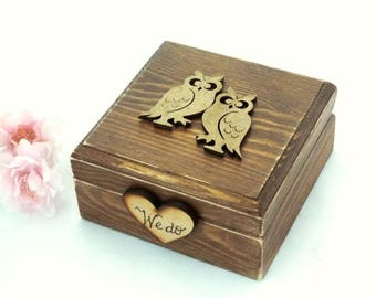 Rustic Wedding Ring Box Ring Bearer Wooden Ring Box Owls Heart and Moss Ring Holder Country Rustic Woodland Wedding Decor Burlap Ring Pillow