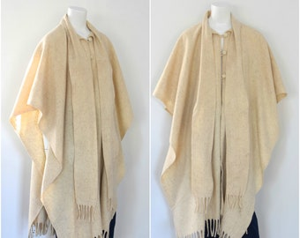 Woven Wool Cape/ Oatmeal Boho Poncho/ Ethnic Sweater Cape/ Womens Free Size
