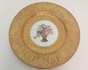 """Vintage 1930s Heinrich & Co Selb Bavaria 22kt Gold and Floral decoration 11"""" Platter"""