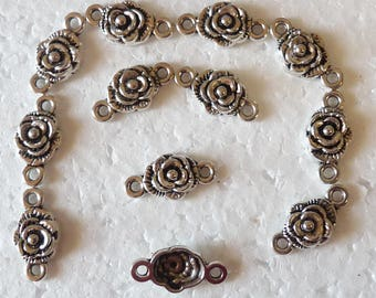 13 elongated flower connectors for jewelry making silver flowers