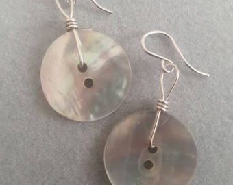Sterling Silver Wire Wrapped Mother of Pearl Vintage Buttons