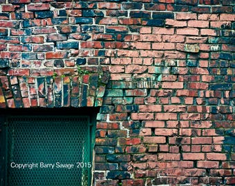 Multi-colored weathered bricks in slate blue, red with green photography prints