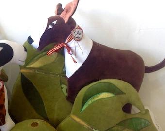 English bull terrier dog cushion/pillow  handmade in Brighton ,UK using vintage fabrics .