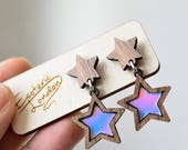 Iridescent Star Dangle Stud Earrings/ Holographic Dangly Earrings/ Mermaid Drop Earrings