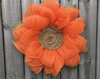 Burlap Sunflower Wreath, Spring Wreath, Summer Wreath, Sunflower Burlap Wreath, Front Door Decor, Mother's Day Gift, Orange Sunflower