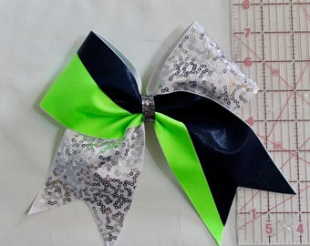 Cheer Bow Navy blue, lime green and white and silver sequins