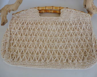 Straw Purse With Bamboo Handles