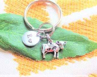 "SMALL COW KEYCHAIN - with initial charm (fits 1-2 characters) Read ""item details"" below and see all photos"