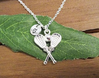 LACROSSE NECKLACE in bright silver plate - personalized w initial charm - choice of chains and length - one flat rate shipping in my shop :)