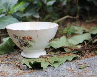 Lovely porcelain bowl cafe au lait made in France, brocante, perfect for your breakfast. Coloured flowers pattern, vintage