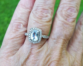 LAYAWAY BALANCE for val only 7/21 aquamarine ring size 7 1970's 2ct genuine aquamarine emerald cut w/white topaz sterling ring