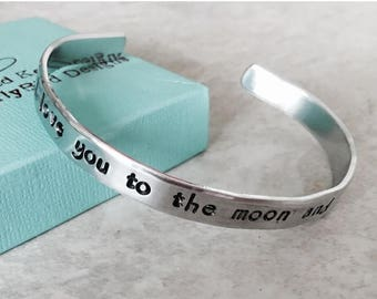 Sale Sale!  I love you to the moon and back bracelet personalized jewelry mothers jewelry hand stamped engraved cuff bracelet Christmas moth