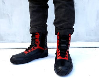 shoes black red leather boots Preorder Upcycling sole of motorcycle car tires Hi top Sneakers Marapulai