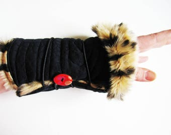 reversible to wrap cotton jersey and faux fur mittens
