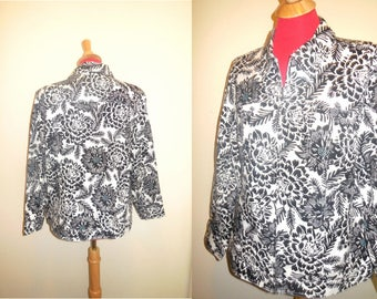 Vintage Jacket XL Cotton Linen Black White Floral Print Lady's Tops Woman's Clothing  Apparel Retro Casual Wear