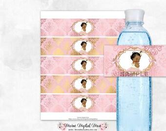 Water Bottle Labels Blush Pink & Gold Damask   African American Princess Tulle Dress   Digital Instant Download