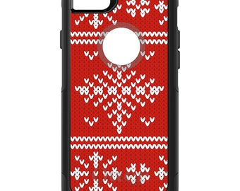 OtterBox Commuter for Apple iPhone 5S SE 5C 6 6S 7 8 PLUS X 10 - Custom Monogram - Any Colors - Red White Ugly Christmas Sweater Gift Mom