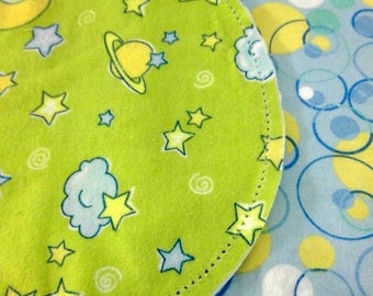 Space Blue and Yellow stars with Circle Backing Hemstitched Baby Blanket and Burps ready for you to crochet by Lindas Hemstitching
