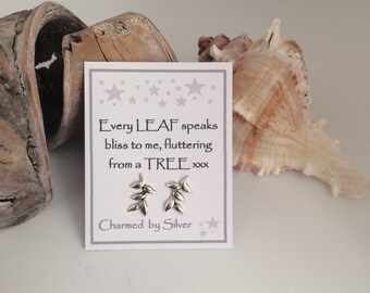 Sterling Silver Leaf Branch stud Earrings with a Message