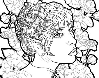 Arika - 8x8 Adult Coloring Page Digital Download file for printing