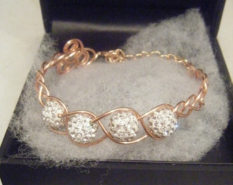 Ladies copper and bead Bracelet gift boxed
