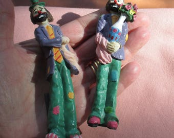 Retro Colorful Clown  Resin Refrigerator Magnets Set Of Two One Repaired Neck TLC