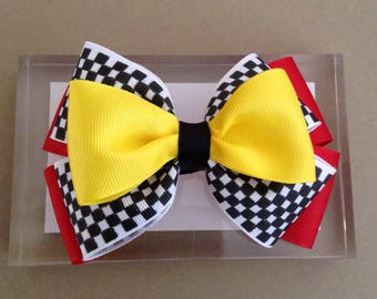 Lightning Mcqueen character inspired bow, Cars hair bow, Girl Hair Bow, Baby Girl Headband