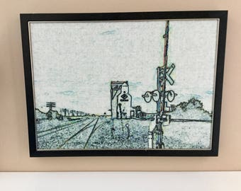 Vintage Pixel Art Photograph of Canadian Railway & Grain Elevator Pixelated on Canvas