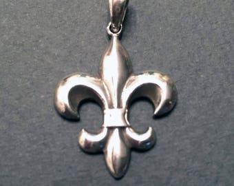 """Fleur de Lys Pendant on Sterling Silver 30"""" Long Necklace"""