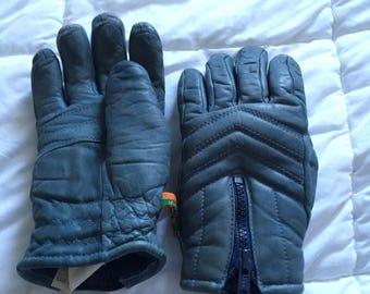 Vintage Leather Kome Womens Small Blue Ski Gloves