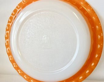 Pyrex Dish, Pyrex Ovenware, Orange Pie Plate, Crown
