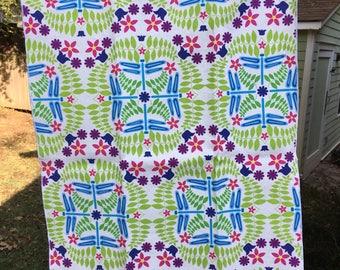 Bright Dragonfly and Fern Print Tea Towel