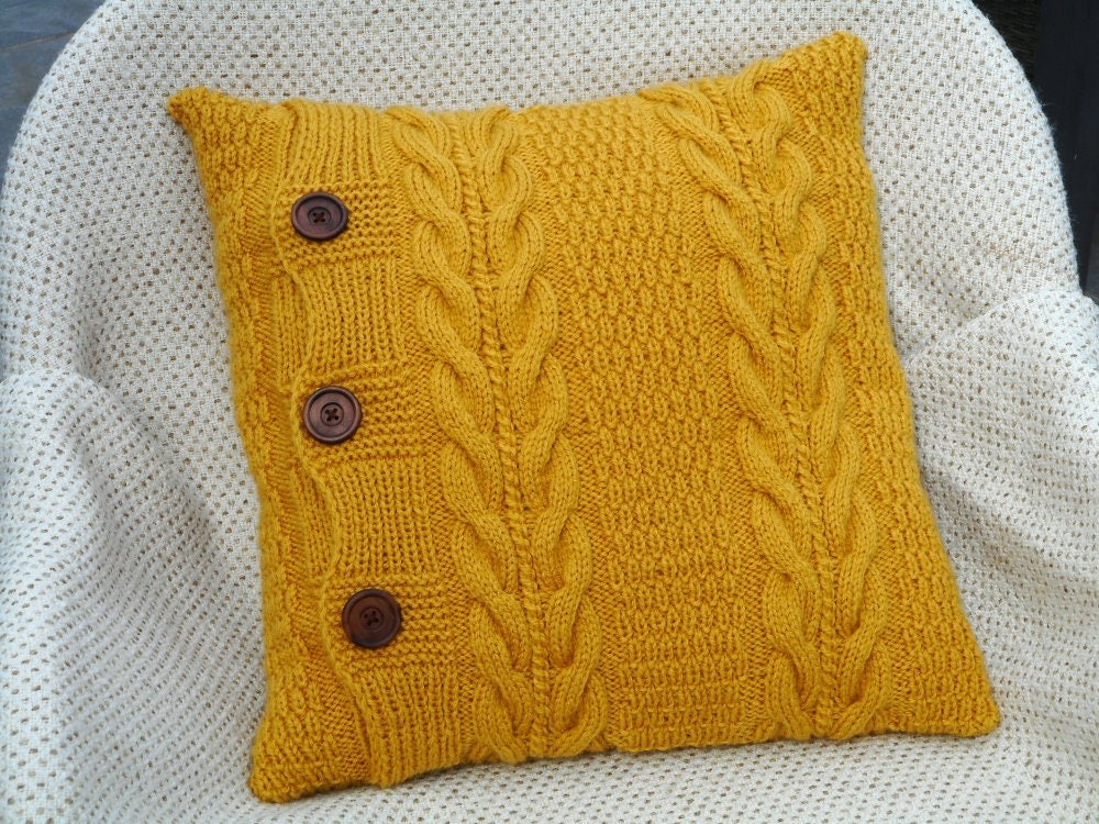 mustard yellow knit pillow throw pillows knit cushion couch. Black Bedroom Furniture Sets. Home Design Ideas